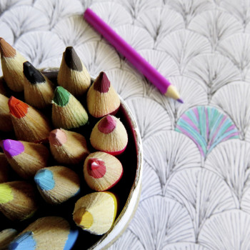 colored pencils one coloring on pencil sketch of of shell shapes